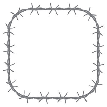 square frame with rounded barbed wire corners. isolated on white background