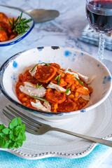 Chorizo, chicken and rosemary pearl barley risotto - top view