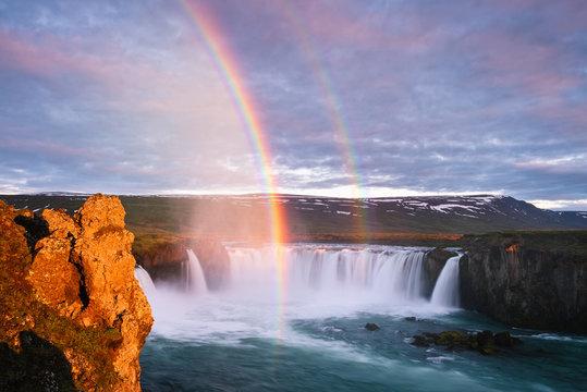Waterfall Godafoss and rainbow, Iceland