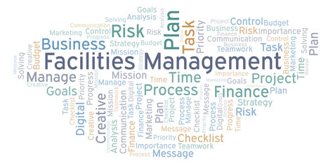 Facilities Management word cloud, made with text only.