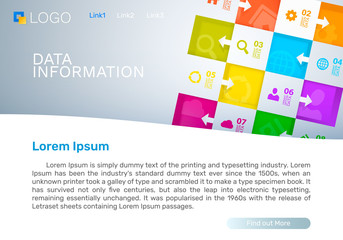 Data information cover, Landing page concept. Vector illustration
