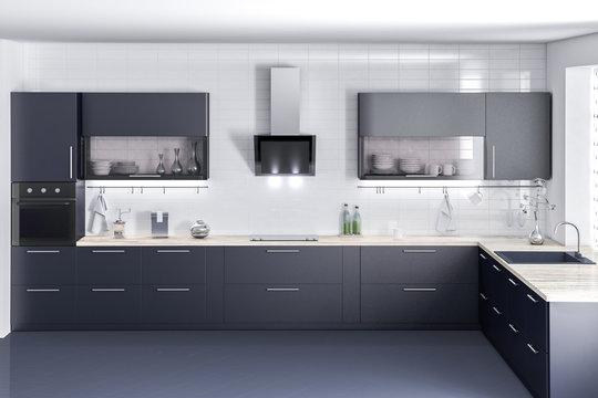 Dark kitchen furniture, kithen, modern food room, beatyful design 3d rendering