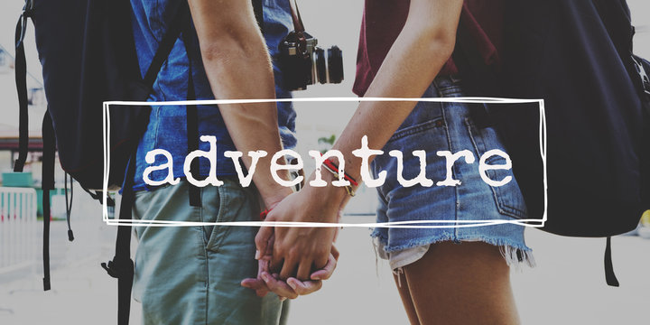 Couple Wander Travel Together Word