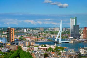 Photo sur Aluminium Rotterdam View of Rotterdam city and the Erasmus bridge
