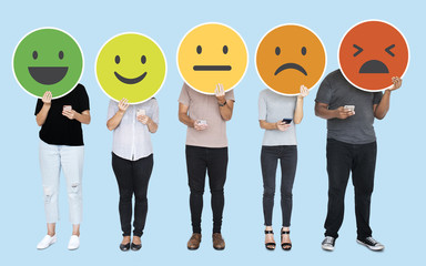 People showing various feeling expression emoticons