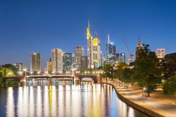 Wall Mural - Illuminated Frankfurt skyline