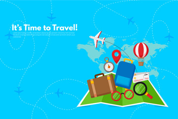 Traveler's accessories. Vacation elements. It's Time to Travel text. Travel concept background. Flat design vector illustration