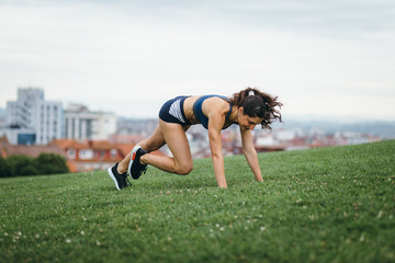 Female athlete doing burpees