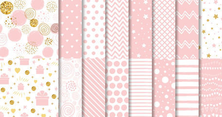 Set of sweet pink seamless pattern Pink dotted background collection Baby girl geometric ornamental template vector