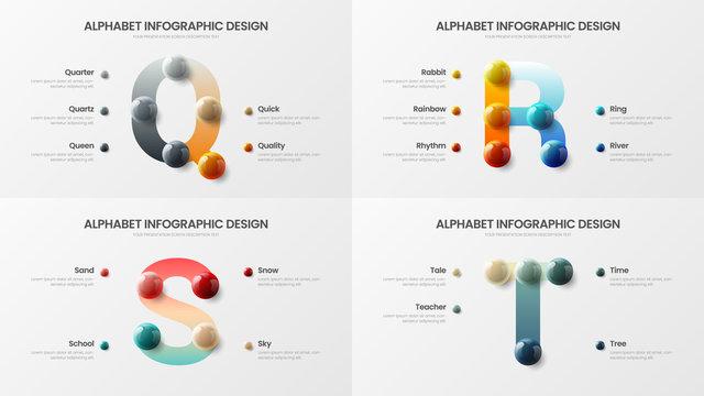 Vector alphabet infographic 3D realistic colorful balls presentation bundle. Creative bright multicolor character design illustration layout. Modern art Q, R, S, T symbols visualization template set.