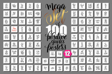 mega set of 100 hand lettering positive quotes isolated on white Fototapete