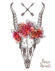 Hand Drawn Antelope Skull With Flower Crown. Hand Drawn Vintage Illustration With Floral Horns  In Boho, Hipster And Rustic Style