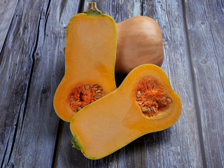 Butternut squash isolated on gray rustic background