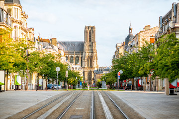 Street view with cathedral in Reims city, France Wall mural