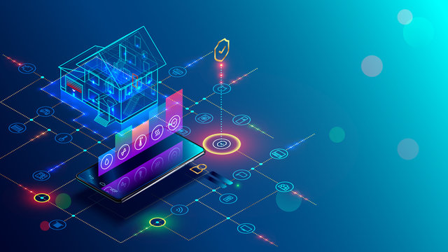 Smart home with internet of things isometric concept. IOT technology in house automation design. Smartphone for wireless control of household appliances via internet. Protection house infrastructure.