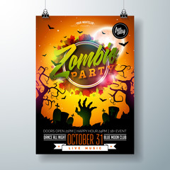 Halloween Zombie Party flyer illustration with cemetery and mysterious moon on orange background. Vector Holiday design template with tomstones and flying bats for party invitation, greeting card