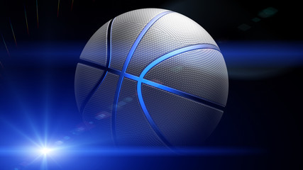 Basketball with blue flash light under black background. 3D illustration. 3D high quality rendering.