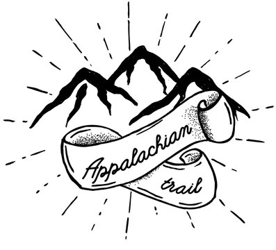 Hand drawn mountains silhouette icon with Appalachian trail. Isolated vector object for logos and vintage graphic