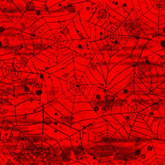 Bloody blood red grunge abstract halloween seamless pattern background
