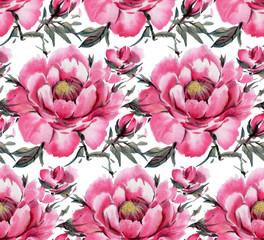 Watercolor flowers. Peonies.