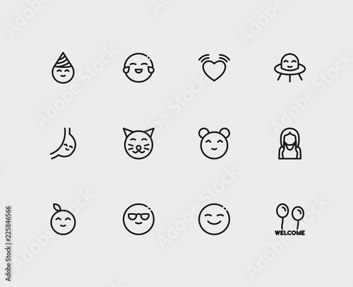 Emoji icons  Set of alien mascot, text welcome and human