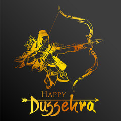 Lord Rama in Navratri festival of India poster for Happy Dussehra