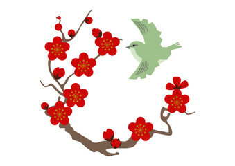 梅と鶯。和柄の梅。縁起の良い素材。日本の春の素材。