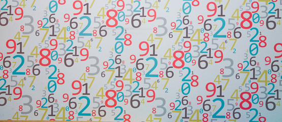 Wall Background of clorfull numbers. from zero to nine. Background with clorfull numbers. Clorfull Numbers texture