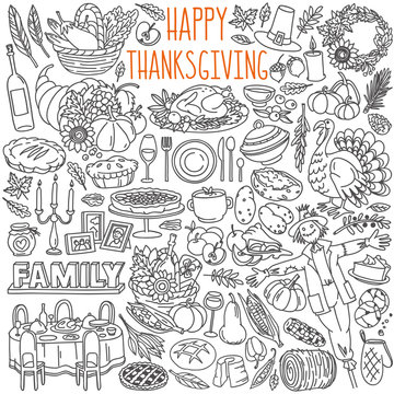 Thanksgiving doodle set. Traditional symbols, food and drinks - turkey, pumpkin pie, corn, wine. Hand drawn vector illustration isolated on white background.