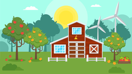 Natural landscape with an apple orchard. Autumn harvest on a farm. Flat vector illustration.