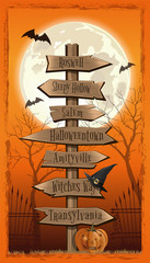 Halloween design. Halloween wood board. Halloween several wooden street signs. Vintage road sign. Vector illustration