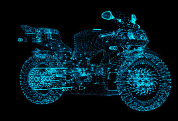Motorcycle of the particles. Motorbike consists of small dots