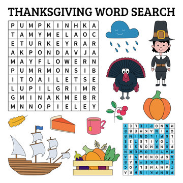 Learn English with Thanksgiving word search game for kids. Vector illustration.