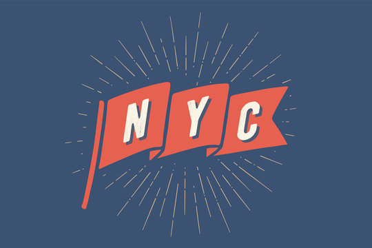 Flag NY. Old school flag banner with text New York City, USA. Ribbon flag in vintage style with linear drawing light rays, sunburst and rays of sun. Hand drawn design element. Vector Illustration