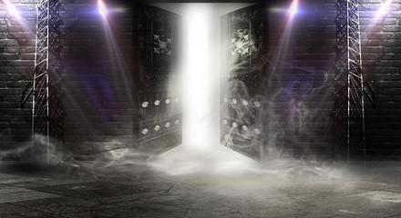 Открытая дверь, магия. Абстрактный темный фон подвала, кирпичные стены, солнечный и неоновый свет, дым.