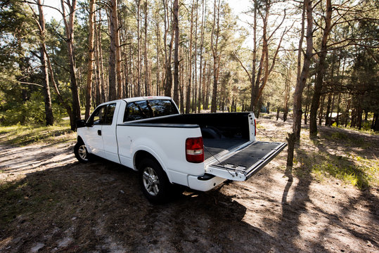 white pickup car with opened truck in forest
