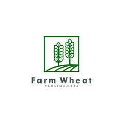 wheat farm logo, agriculture icon symbol vector illustration