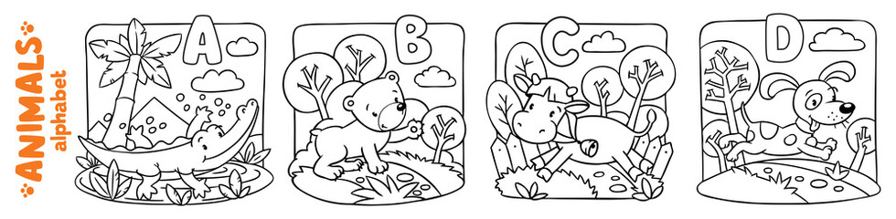 Animals alphabet or ABC. Coloring book set