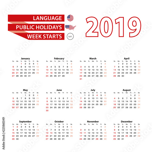 calendar 2019 in english language with public holidays the united state of america in year 2019