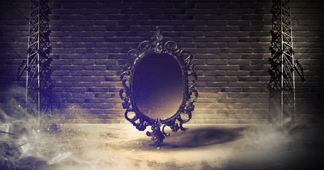 Mirror magical, fortune telling and fulfillment of desires. Abstract dark background of basement,...