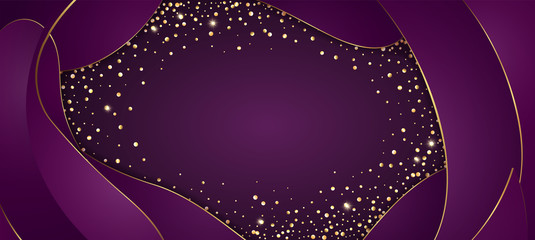 Vector festive purple background with golden glittering confetti frame for invitations, anniversary celebration birthday