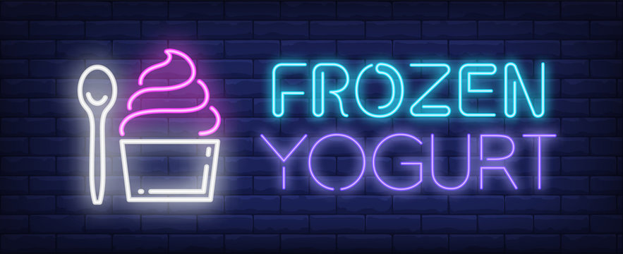 Frozen yogurt neon text with cupcake and spoon. Dessert, cafe, food and advertisement design. Night bright neon sign, colorful billboard, light banner. Vector illustration in neon style.