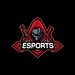 red hoodie mysterious man with katana for esports logo