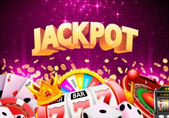 Jackpot Casino แบนเนอร์ภาพตัดปะชนะใหญ่  ภาพประกอบ