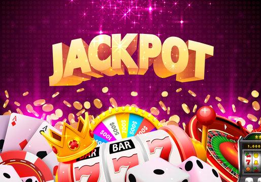 Jackpot casino big win collage banner. Vector illustration
