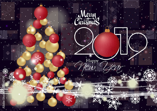happy new year 2019 and merry christmas card for your design \