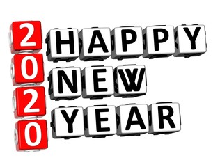 3D Rendering Crossword 2020 Happy New Year Word Over White Background.