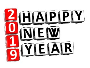 3D Rendering Crossword 2019 Happy New Year Word Over White Background.