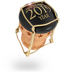 2019 New Year's champagne stopper isolated on white