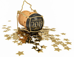 champagne cork and confetti of golden stars isolated on white